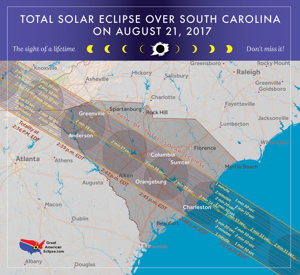 The eclipse leaves the USA at South Carolina, returning to the USA seven years later.